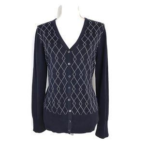 Brooks Brothers Cardigan Navy Blue Argyle Sweater